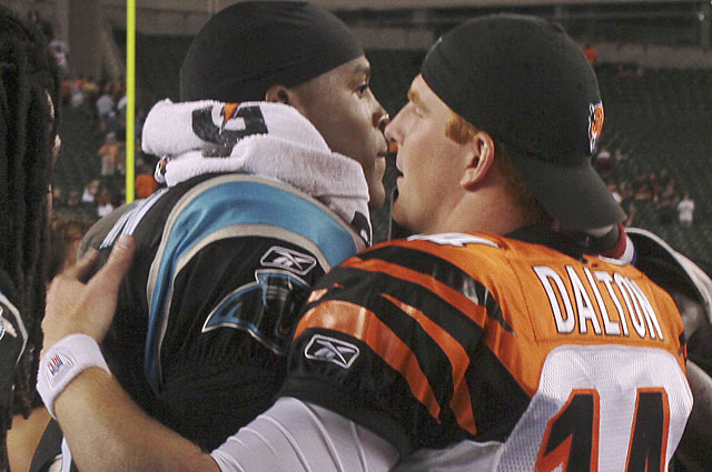 While Cam Newton (No. 1 pick) looks shaky, second-round selection Andy Dalton is sharp. (AP)