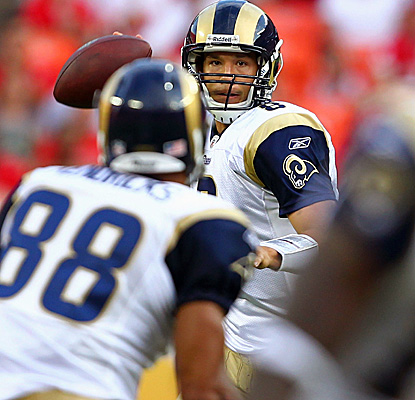 In his first two series vs. the Chiefs, Rams QB Sam Bradford tosses for 76 yards on 8-for-8 passing. (Getty Images)