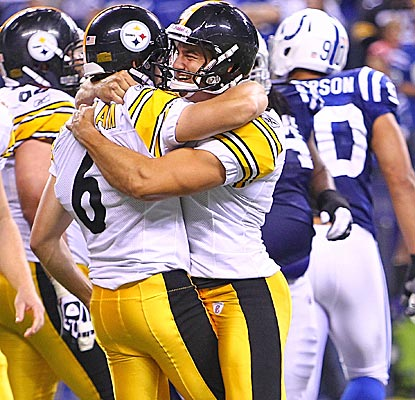 Kicker Shaun Suisham and punter Daniel Sepulveda celebrate after Suisham boots the Steelers past the Colts. (US Presswire)