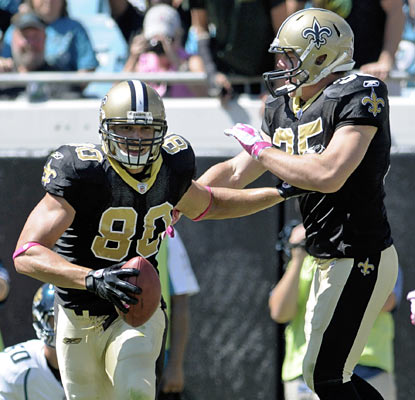 Jimmy Graham is involved early and often as he finishes with career highs in receptions (10) and receiving yards (132).  (AP)