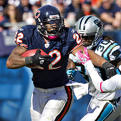 Matt Forte runs all over the Panthers, to the tune of a career-high 205 yards. (Getty Images)