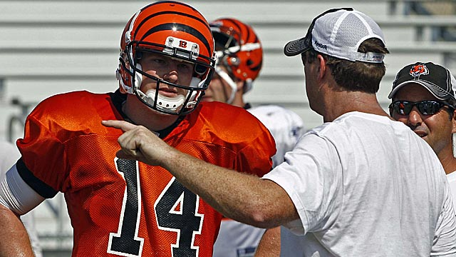 Rookie QB Andy Dalton and Jay Gruden have common bonds as they develop together. (US Presswire)