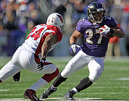 Ray Rice, who scores three touchdowns against the Cardinals, eludes Adrian Wilson during the Ravens' win. (US Presswire)