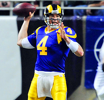 St. Louis' A.J. Feeley completes 20 of 37 passes for 175 yards and a touchdown against New Orleans.  (US Presswire)