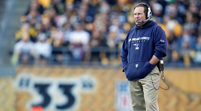 Bill Belichick might be a football genius, but he doesn't have a solution for the Pats' defense. (Getty Images)