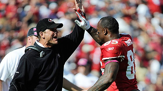 Turnaround artist Jim Harbaugh has turned the Niners into a 7-1 team. (Getty Images)