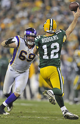 Jared Allen, leading the NFL in sacks with 12.5, will try to chase down Aaron Rodgers on Monday night. (Getty Images)