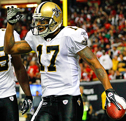 The Saints' Robert Meachem celebrates after scoring a touchdown against the Falcons. (Getty Images)