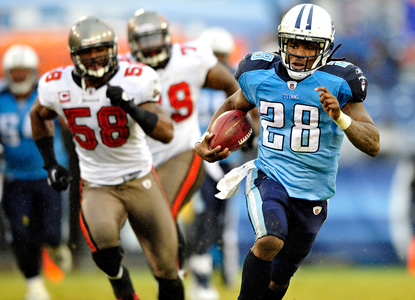 He's back!  Chris Johnson shows his breakaway speed in running for a season-high 190 yards. (Getty Images)