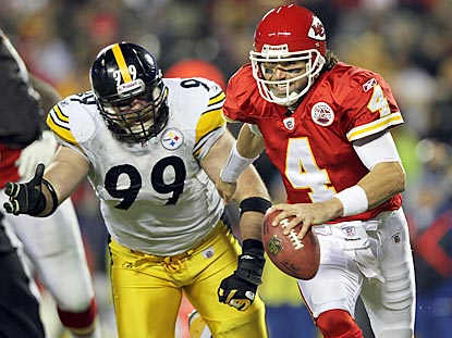 Brett Keisel and the Steelers hound Pittsburgh-area native Tyler Palko into four turnovers.  (Getty Images)