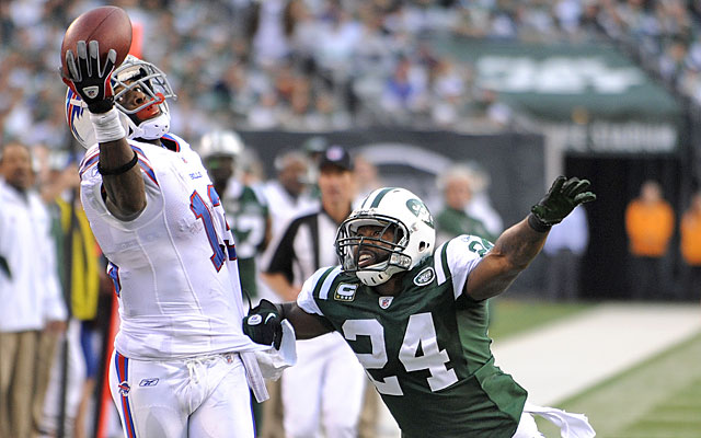 Stevie Johnson had a surprising nine catches against the Jets, many of them beating Darrelle Revis. (AP)