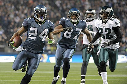 Marshawn Lynch outraces the Philadelphia secondary to the goal line for a 40-yard touchdown in the second quarter.  (US Presswire)