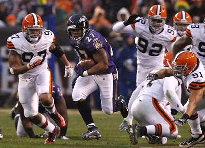 Ray Rice goes off on the Browns to the tune of a career-high 204 yards, including a 67-yard run in the third. (Getty Images)