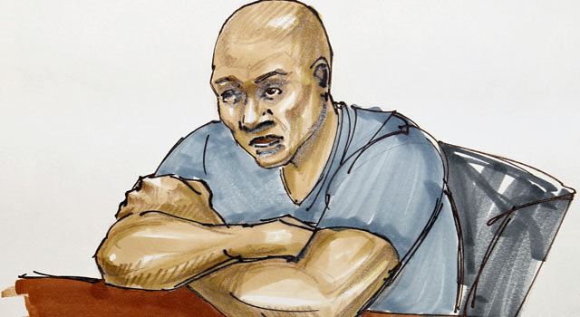 In this sketch, Sam Hurd makes his initial courtroom appearance in Chicago. (AP)