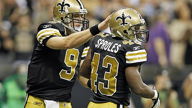 Brees knows just how to use his varied weapons like Darren Sproles. (US Presswire)