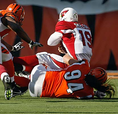 John Skelton, starting at QB for Kevin Kolb, suffers one of five sacks at the hands of the Bengals. (Getty Images)