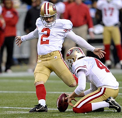 David Akers kicks four field goals in a win over Seattle, giving him an NFL record 42 for the year. (US Presswire)