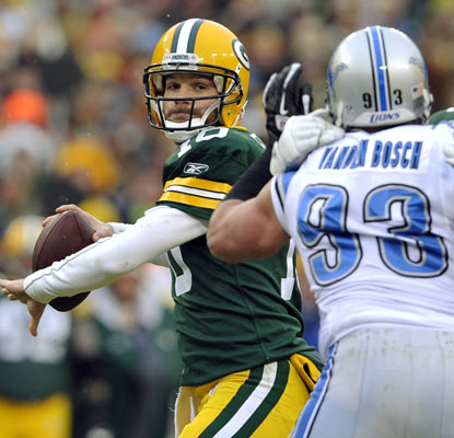 Matt Flynn looks a lot like Aaron Rodgers against the Lions, throwing for a Packers-record six touchdowns.  (AP)