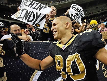 Jimmy Graham caps a sensational regular season but is barely eclipsed by New England's Rob Gronkowski.  (Getty Images)
