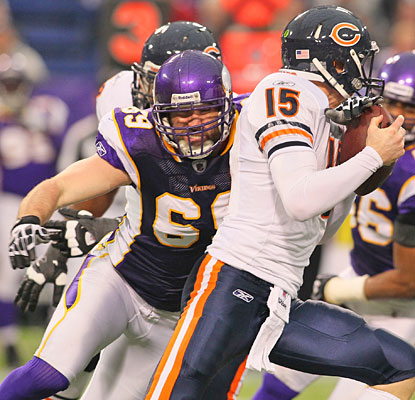Jared Allen, chasing down Bears QB Josh McCown, falls one sack short of breaking the NFL single-season record.  (Getty Images)