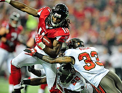 Rookie star Julio Jones scores one of his two first-quarter touchdowns.  (Getty Images)