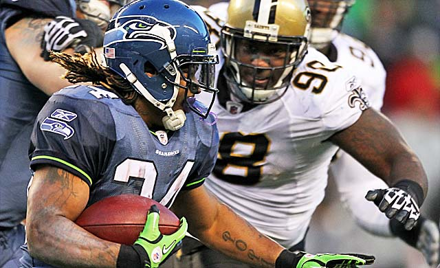 Marshawn Lynch helped deliver the knockout blows to the stunned Saints last January. (Getty Images)