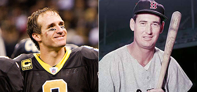 Brees finishing second to Rodgers would be similar to Williams' runner-up to Joltin' Joe in '41. (Getty Images)