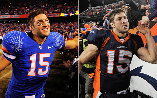 Mile High Swamp? Similar colors, same number and matching results for Tim Tebow. (Getty Images/AP)
