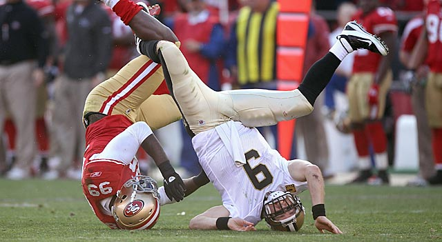 During Divisional Weekend, Aldon Smith helps turn The Year of Offense (and Drew Brees) on its head. (AP)