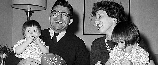 Paterno, here in February 1966, sits with his wife Suzanne and his two daughters. (Getty Images)