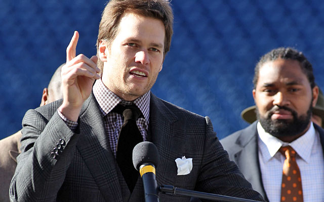 Tom Brady tells the crowd,'Hopefully we'll have a lot more people at our party next [week].' (AP)
