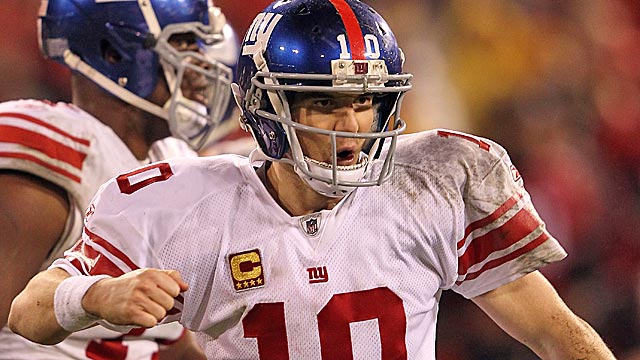 Eli Manning is four spots behind Brady, but he's the hotter QB coming into Sunday's game. (Getty Images)