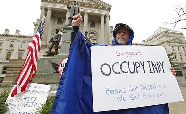 Occupy Indy made an appearance in November; Doyel says they should lay low this week. (AP)