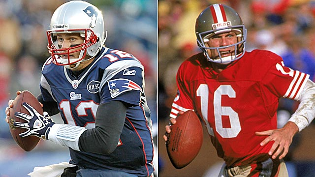 Brady's regular-season winning percentage is higher than Montana's. (Getty Images)
