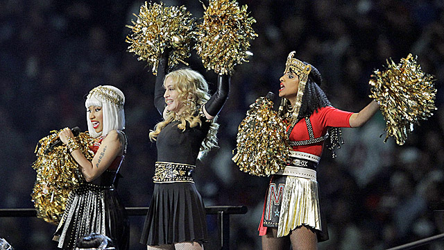 Madonna performs with Nicki Minaj (left) and M.I.A. during halftime of Super Bowl XLVI. (AP)