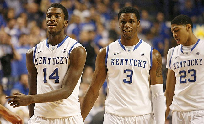 Michael Kidd-Gilchrist (14), Terrence Jones (3) and Anthony Davis should have a busy spring. (US Presswire)