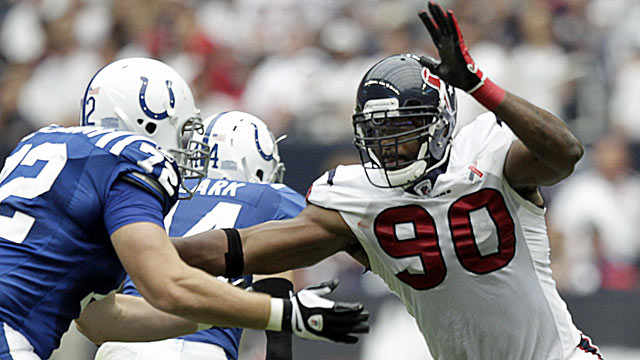 Coveted Texans pass rusher Mario Williams is 'this year's Julius Peppers.' (Getty Images)