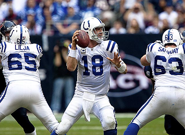 Almost all of Manning's 14 seasons in Indianapolis weren't spent behind superior offensive lines. (Getty Images)