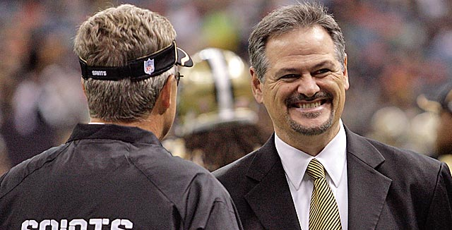 Saints GM Mickey Loomis with former defensive coordinator Gregg Williams
