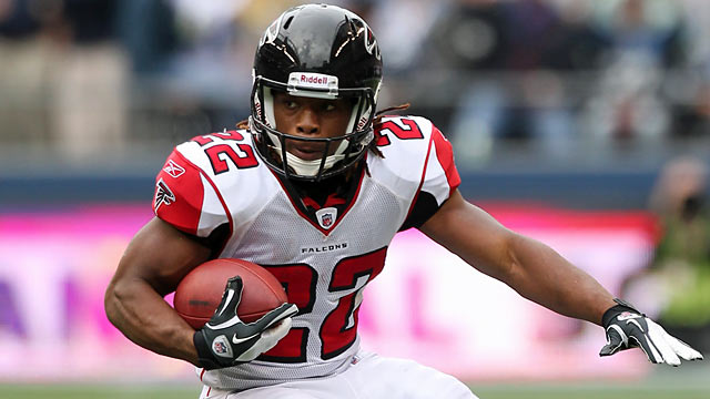 Second-year player Jacquizz Rodgers might help Atlanta avoid the need to draft a RB in April. (Getty Images)