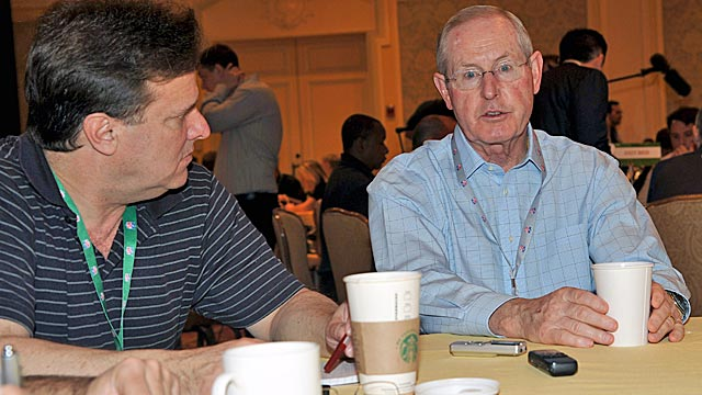 Coughlin talks to reporters at Wednesday's NFC coaches breakfast. (US Presswire)