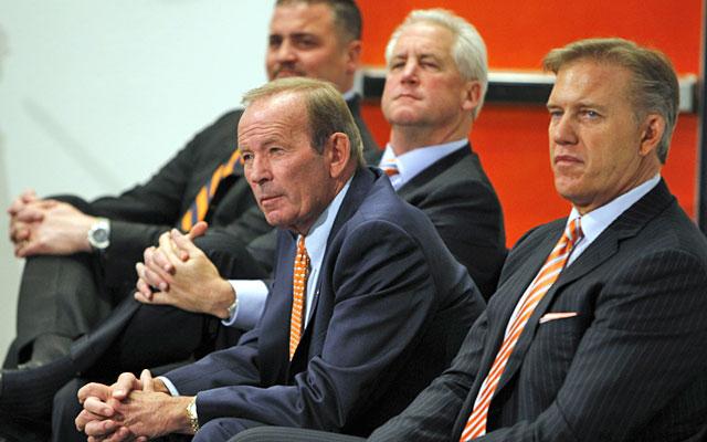 Broncos brass -- GM Brian Xanders, coach John Fox, owner Pat Bowlen, VP John Elway -- has work to do. (AP)