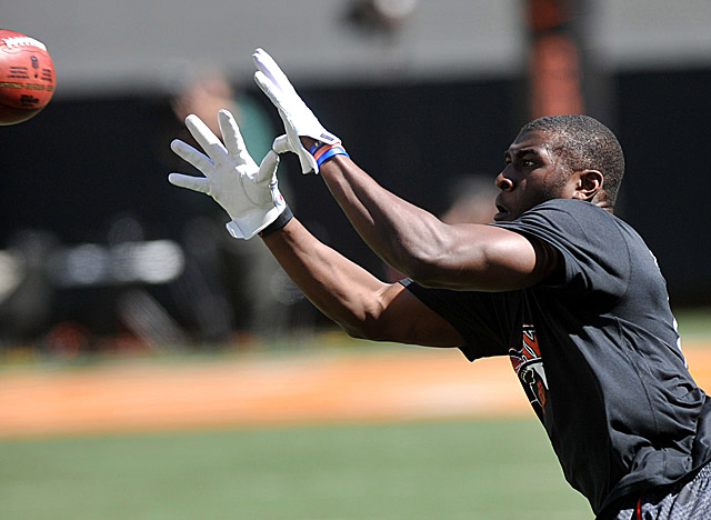 Blackmon's talent at WR is as obvious as the two Biletnikoff awards he won while at OK State. (US Presswire)