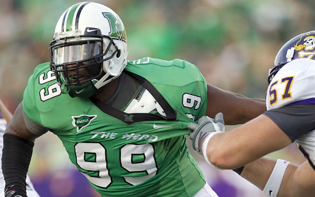 Projected as a second-round pick, Vinny Curry had 24 sacks in 45 games at Marshall. (US Presswire)