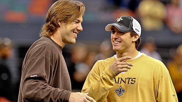 Former Saints teammates Scott Fujita and Drew Brees meet with NFL officials on Monday. (US Presswire)