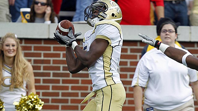 Stephen Hill didn't put up gaudy numbers in a run-heavy Georgia Tech offense. (AP)