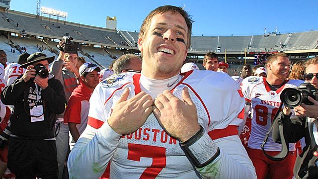 Keenum is the only FBS QB to throw for more than 5,000 yards in three different seasons. (US Presswire)