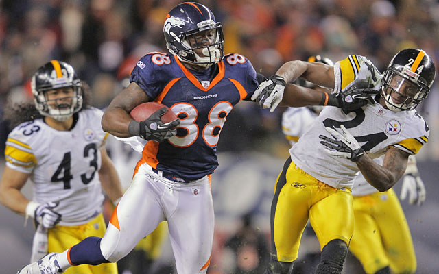 On the play that made him (almost) famous, Demaryius Thomas burned the Steelers in OT. (Getty Images)