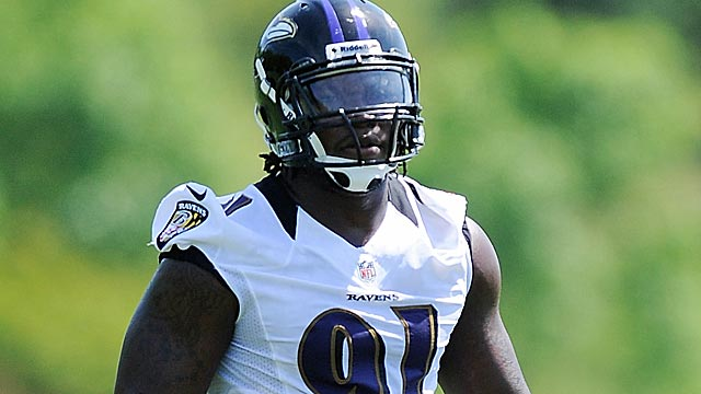 As a rookie, Courtney Upshaw will face the big task of helping fill the Terrell Suggs void. (Getty Images)