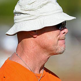 Bears legend Jim McMahon looks on at the 2011 NFC Pro Bowl practice in Hawaii. (US Presswire)